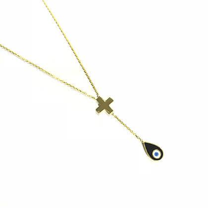 Hanging Mati & Cross Necklace