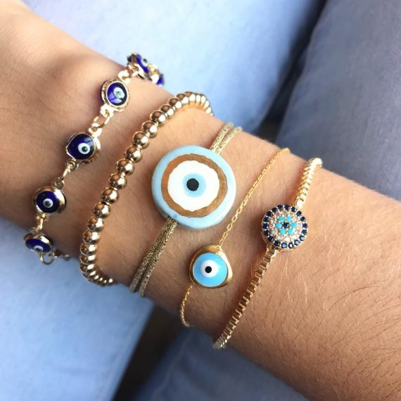 24k Ceramic Evil Eye Bracelet