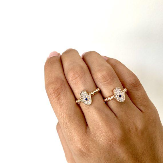 Hamsa Zirconia Ring