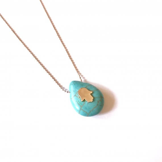 Turquoise Drop Hamsa Necklace