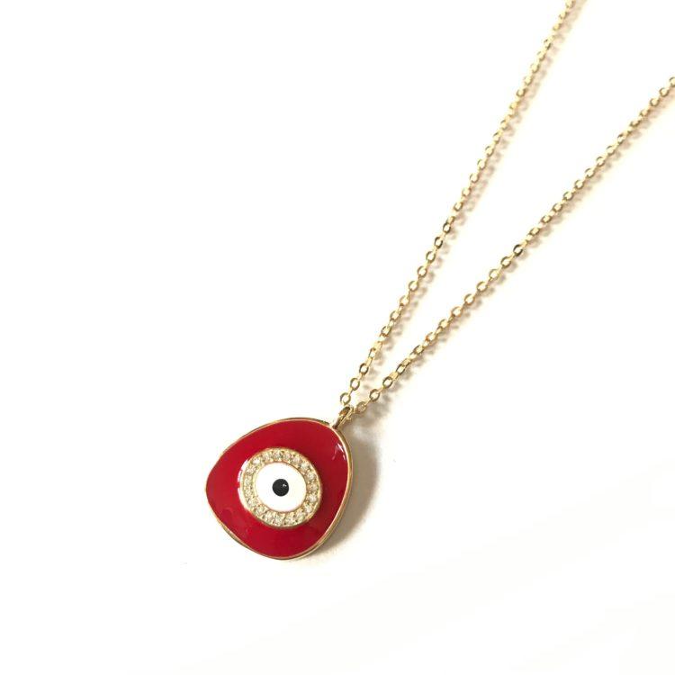 Red Geometric Evil Eye Necklace