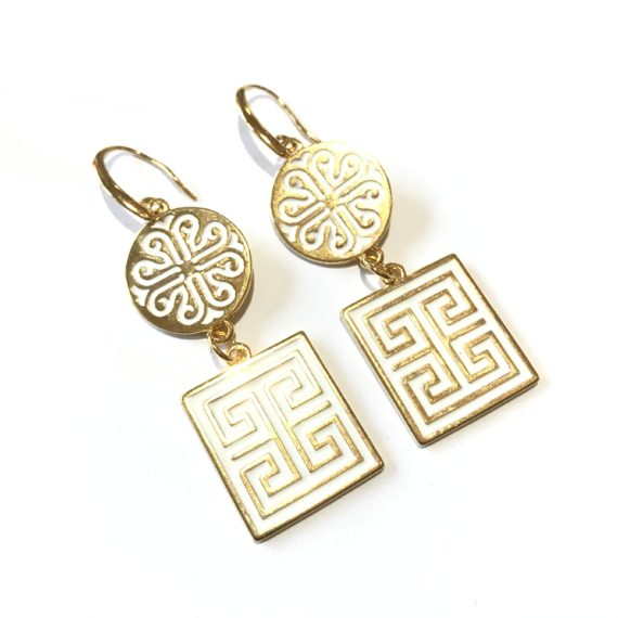 Meander Earrings – White