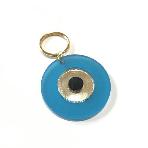 Perspex Blue Mati Keyring
