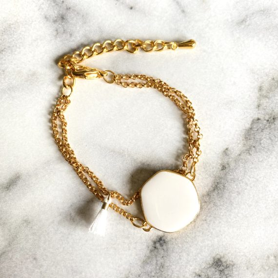 Double Chain White Bracelet