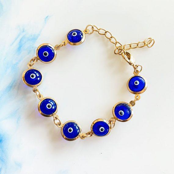 Glass Matia Bracelet – Dark Blue – Gold
