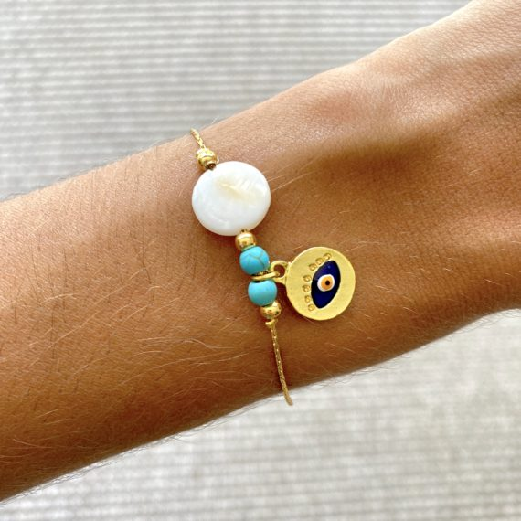 Turquoise & White Stone Mati Bracelet