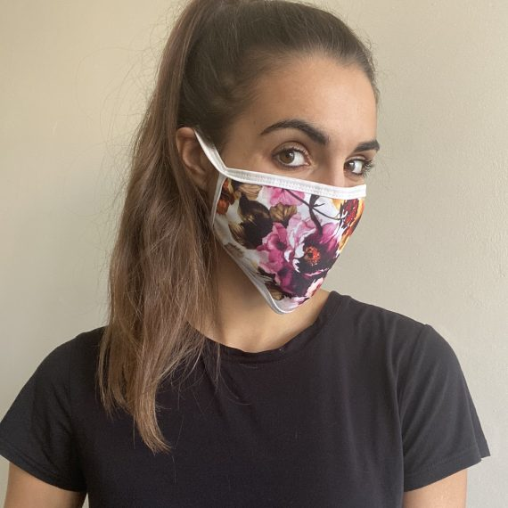 Purple Floral Mask – Female (3 Layer)