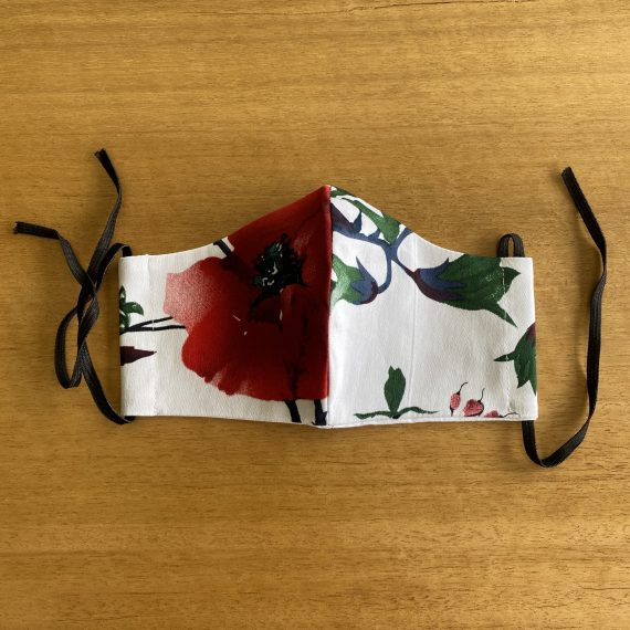 Red & White Floral Mask – Female (2 Layer)