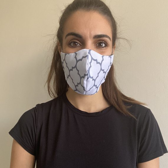 White Pattern Mask – Adult (3 Layer)