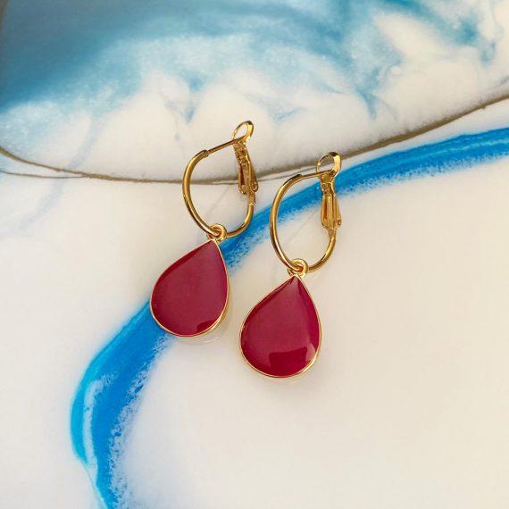 Maroon Drop Earrings
