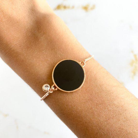 Adjustable Black & Diamante Rose Gold Bracelet