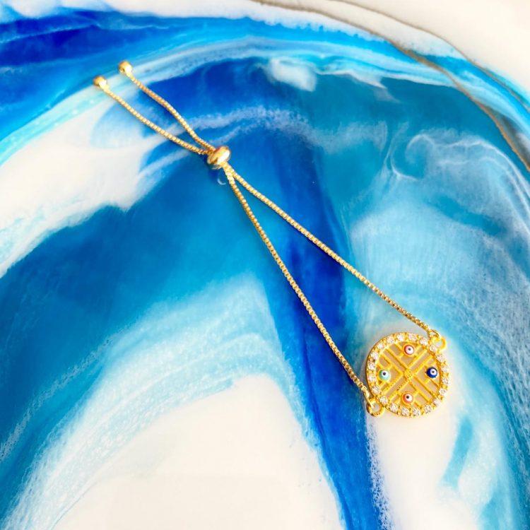 Adjustable Colourful Gold Bracelet