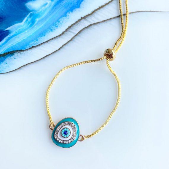 Adjustable Turquoise Mati Bracelet