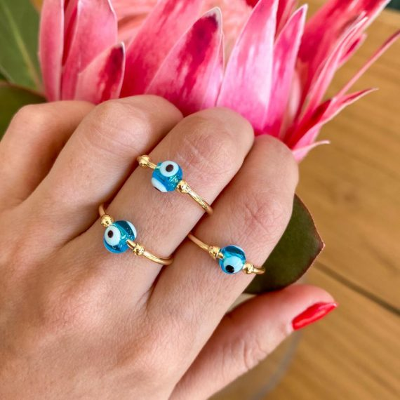 Blue Bead Ring