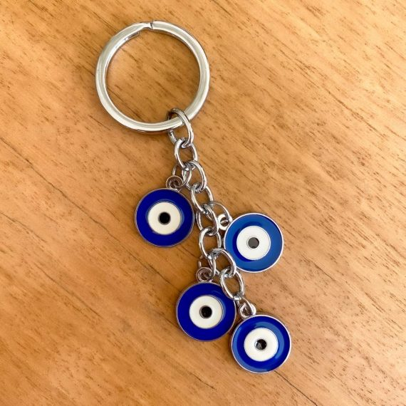 Dark Blue Evil Eye Keyring