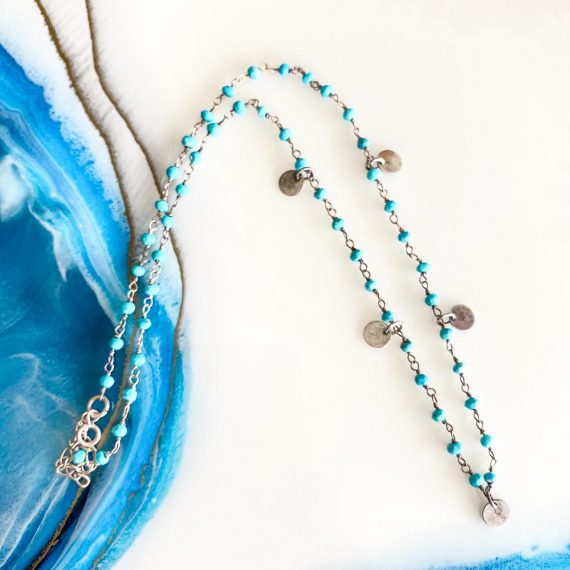 Blue Silver Disk Necklace