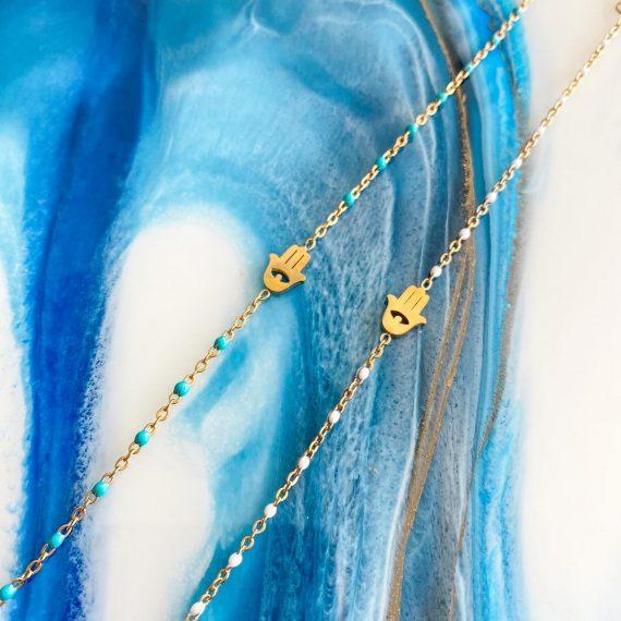 Delicate Beaded Hamsa Bracelet