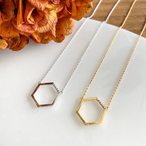 Hexagon Diamante Necklace