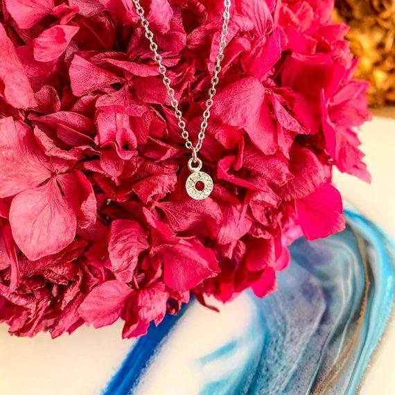 Small Diamante Circle Necklace