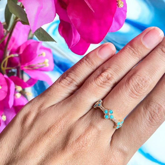 Turquoise Clover Ring 2